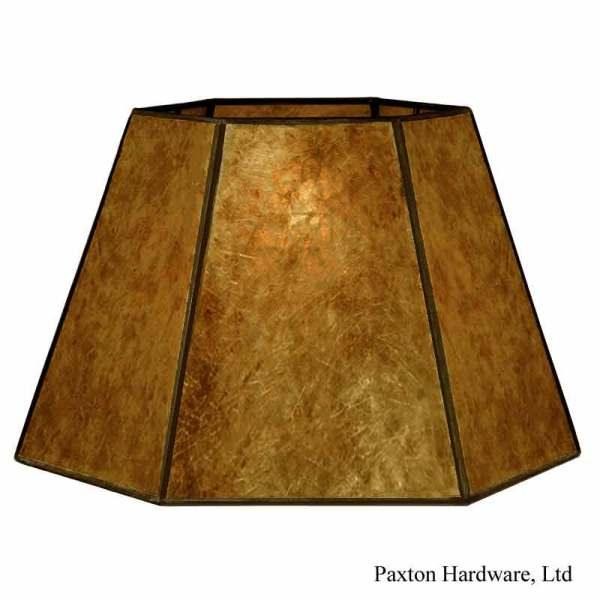 Amber Mica Lamp Shades for table lamps with a harp shade holder