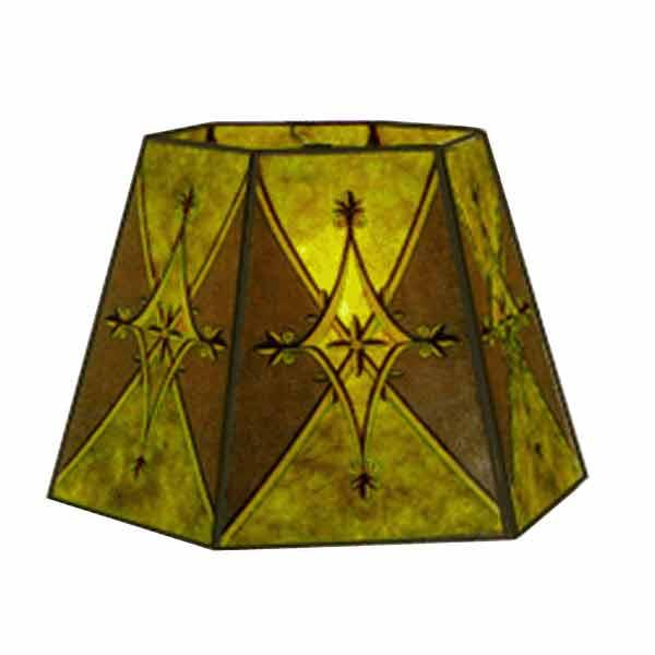 Green Mica Lamp Shades with striking diamond pattern for bridge lamps with uno threaded sockets