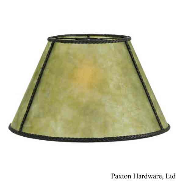Round Green Mica Uno Lamp Shades, accented with dark braided trim, for bridge floor lamps