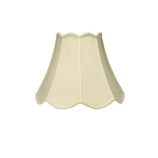 Scalloped Eggshell silk, harp type lamp shades for table lamps