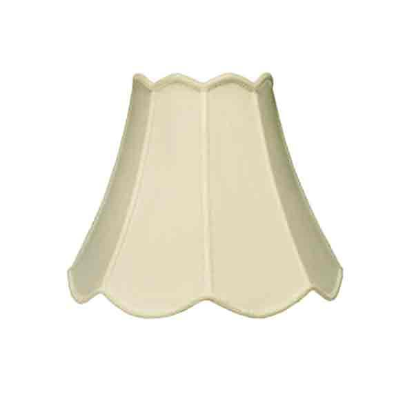 "Scalloped Eggshell silk, harp type lamp shades for table lamps, 14"" base"