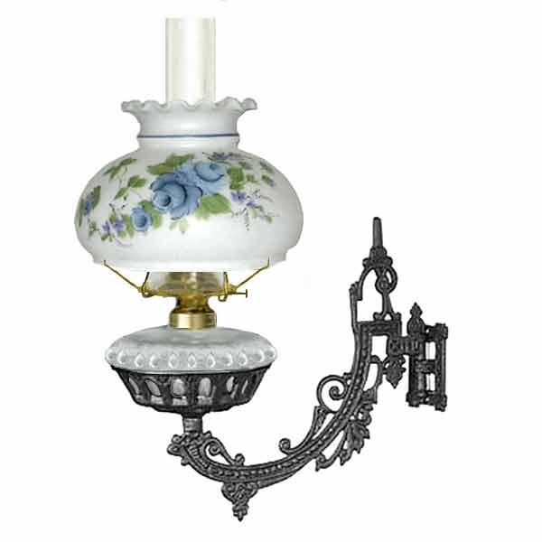 Bracket Oil Lamp, Clear - Blue Rose Shade - paxton hardware ltd
