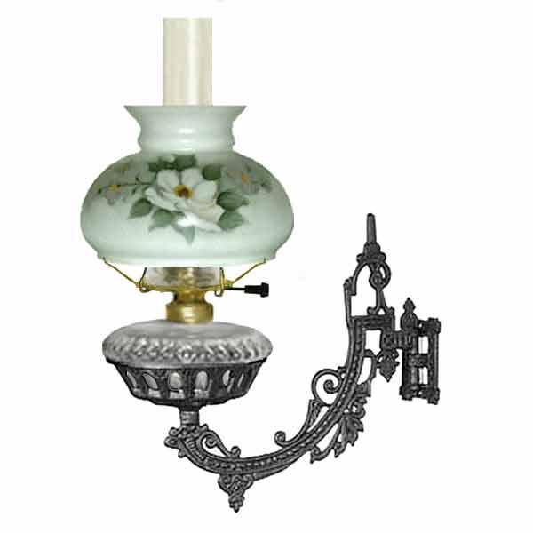 Electric Cast Iron Bracket Lamp, Clear - Magnolia Shade - paxton hardware ltd