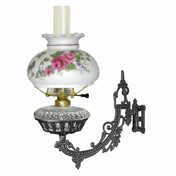 Electric Iron Wall Bracket Lamp, Clear - Pink Rose Shade - paxton hardware ltd