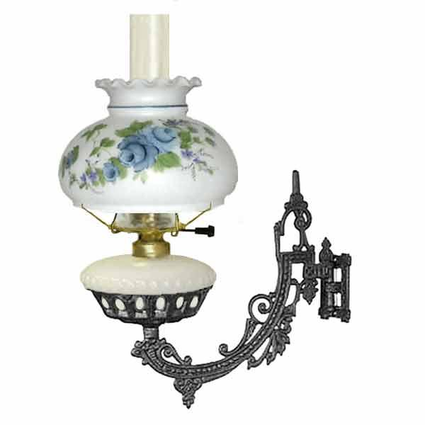 Bracket Lamp, Electric, White Font - Blue Rose Shade - paxton hardware ltd