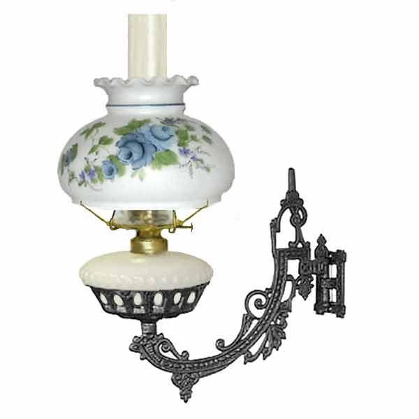 Bracket Oil Lamp, White - Blue Rose Shade - paxton hardware ltd