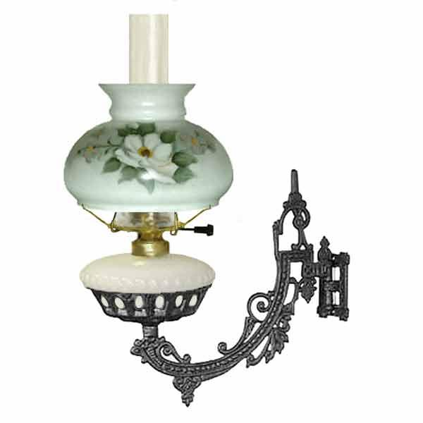 Cast Iron Electric Bracket Lamp, White - Magnolia Shade - paxton hardware ltd