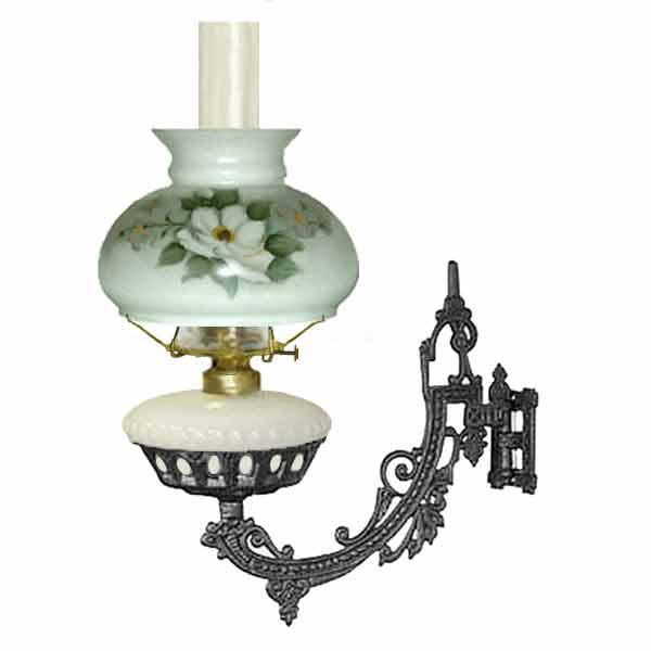 Bracket Oil Lamp, White - Magnolia Shade - paxton hardware ltd