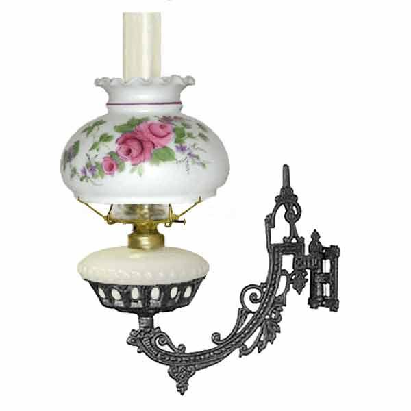 Bracket Oil Lamp, White - Pink Rose Shade - paxton hardware ltd
