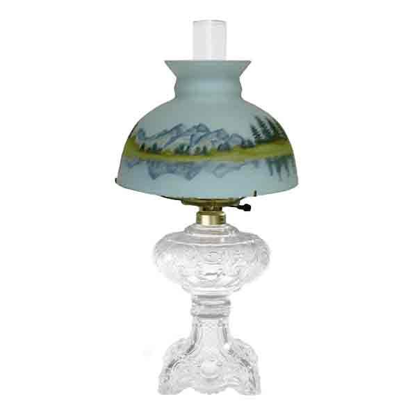 Antique Glass Lamp, Reverse Painted Shade - paxton hardware ltd