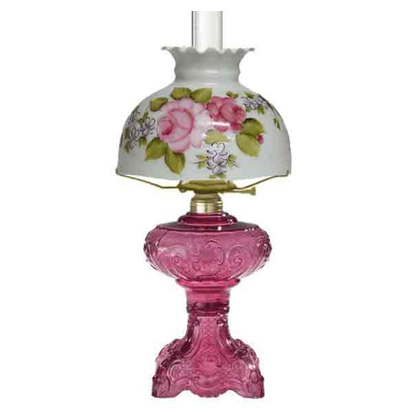 Cranberry Glass Lamp - Heirloom Rose Shade - paxton hardware ltd