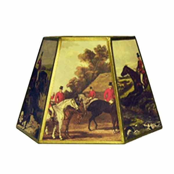 Fox Hunt Lamp Shades, with special uno threads, for brass or iron bridge lamps