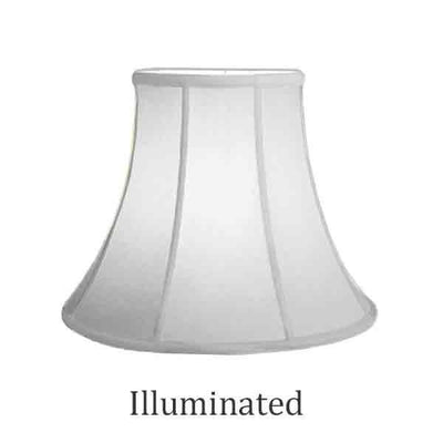 "Bell shaped Lamp Shade, White Silk, 14"" Base"