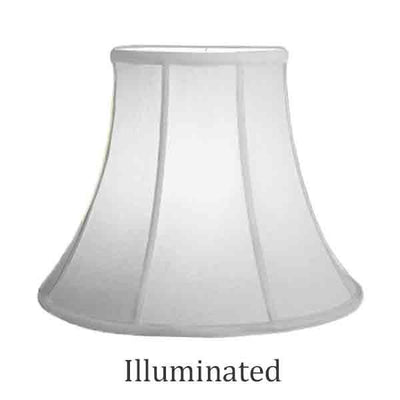 "White Bell Shaped Lamp Shade, Silk, 16"" Base"