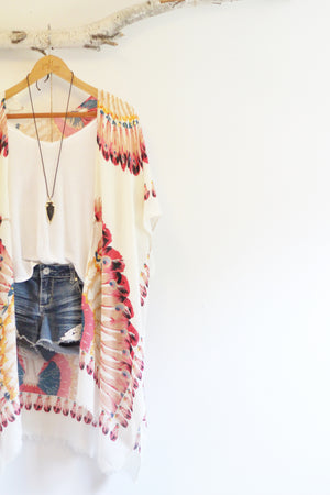 Summer of Love | Bohemian Kimono with Pink Feather Pattern