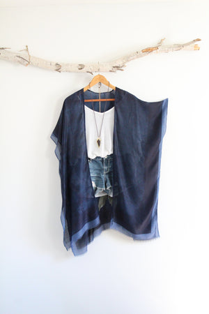 Posy | Navy Blue Bohemian Kimono with Floral Patterns