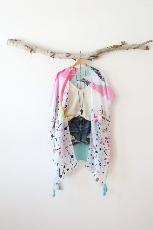 Miami | 80's Inspired Colorful Bohemian Long Kimono