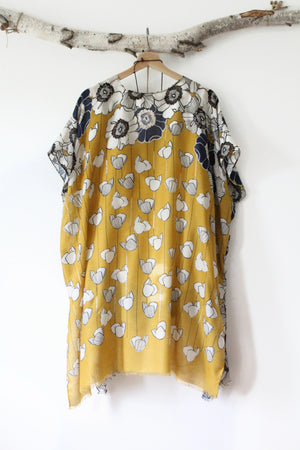 Ocre | Long & Flowy Bohemian Kimono with Floral Prints