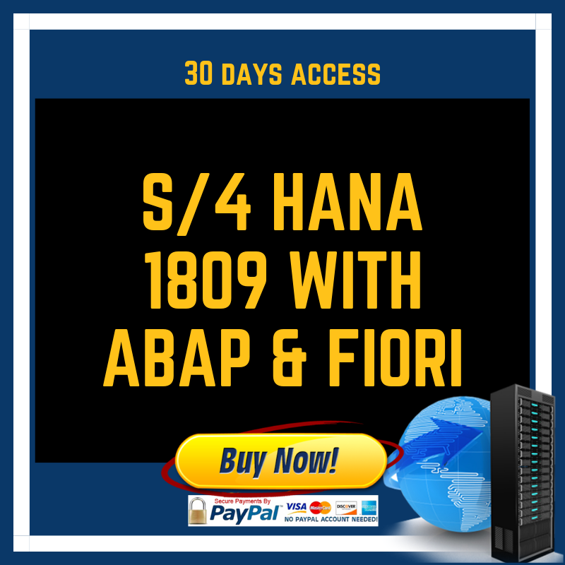 S/4 HANA 1809 with ABAP & Fiori 30 Days
