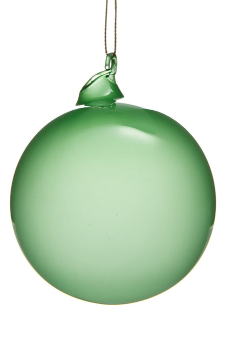 BUBBLEGUM GLASS ORNAMENTS - GREEN (80mm x 6) - Made by McNamara