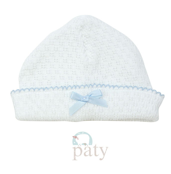 KNIT SAILOR CAP WITH BOW - BLUE - Made by McNamara