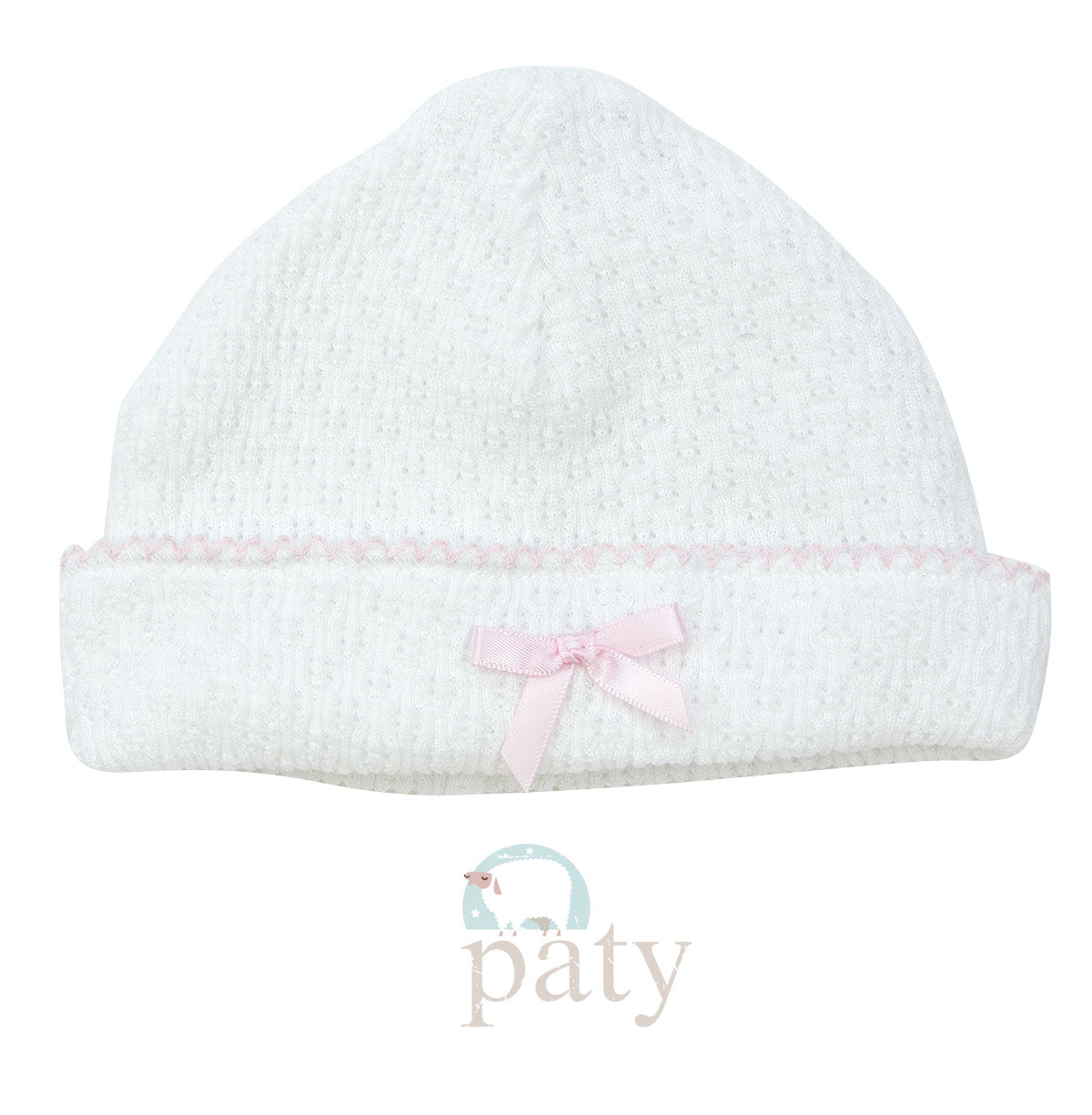 KNIT SAILOR CAP WITH BOW - PINK - Made by McNamara