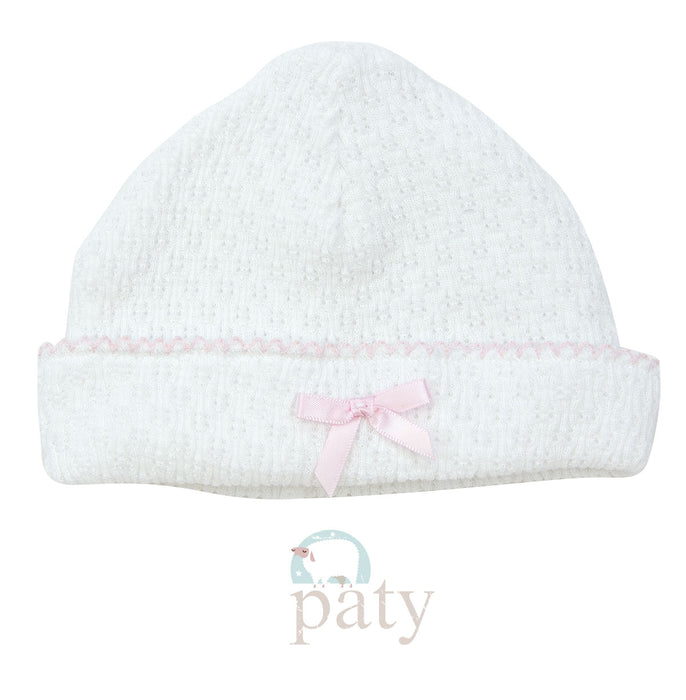 KNIT SAILOR CAP WITH BOW - PINK