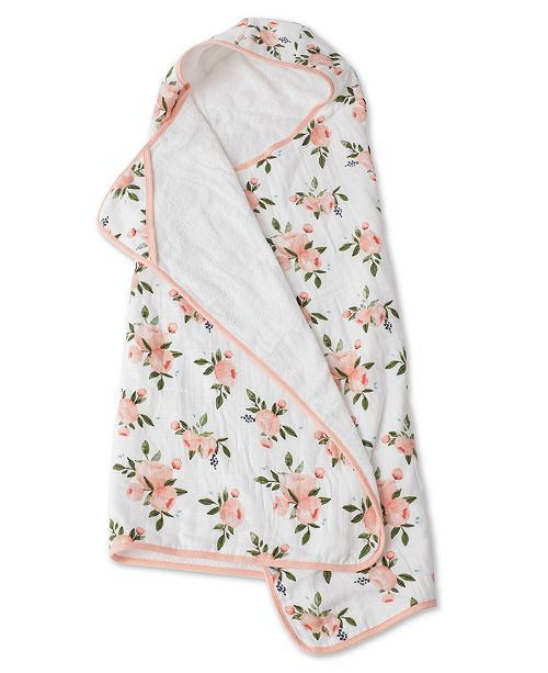BIG KID HOODED TOWEL - WATERCOLOR ROSES - Made by McNamara