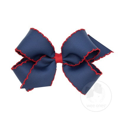 SMALL MOONSTITCH BOW - NAVY WITH RED - Made by McNamara