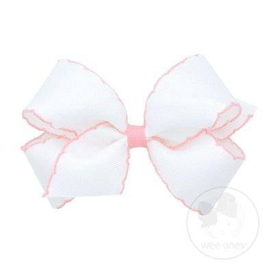 SMALL MOONSTITCH BOW - WHITE WITH LIGHT PINK - Made by McNamara