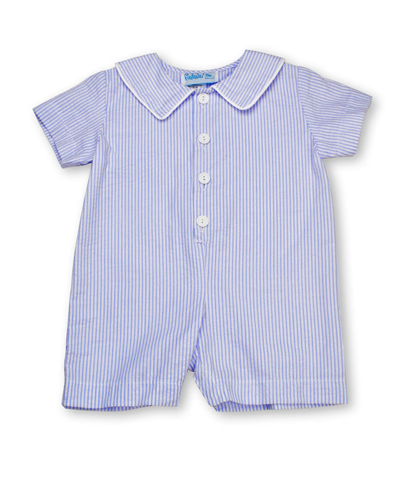 BUTTON ROMPER - BLUE STRIPE - Made by McNamara