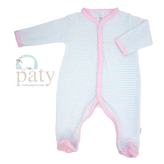 PINSTRIPE LONG SLEEVE KNIT ROMPER WITH COTTON TRIM - BLUE AND PINK - Made by McNamara