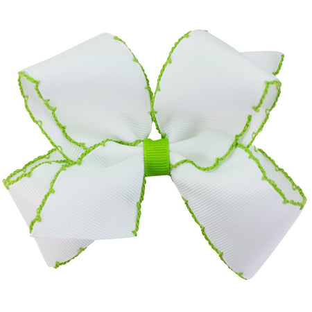 SMALL MOONSTITCH BOW - WHITE WITH GREEN - Made by McNamara