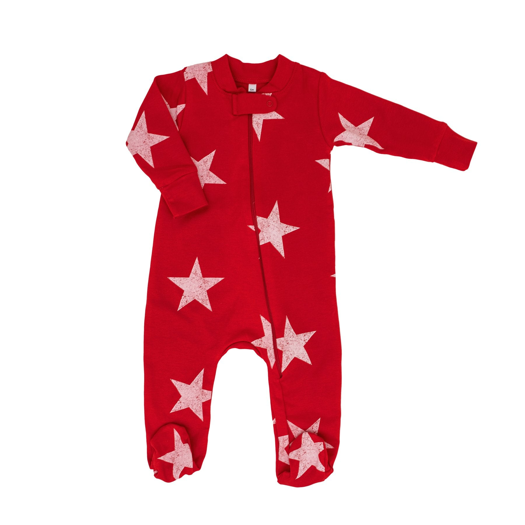 PRE-ORDER: HOLIDAY WHITE STAR ZIPPER FOOTIE ROMPER - Made by McNamara