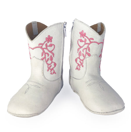 BRISTOL COWGIRL BOOTS - WHITE & PINK - Made by McNamara