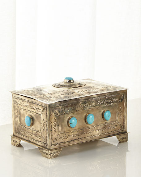 9 STONE BOX WITH TURQUOISE - Made by McNamara