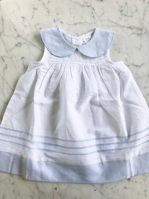 LINEN DRESS WITH BLUE EMBROIDERY - Made by McNamara