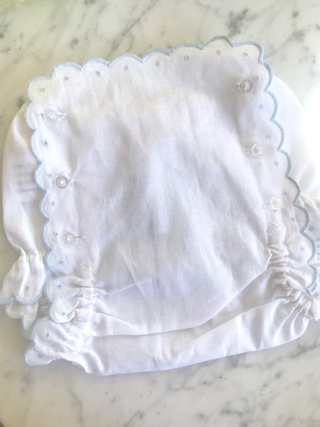 EMBROIDERED SCALLOPED DIAPER COVER - Made by McNamara