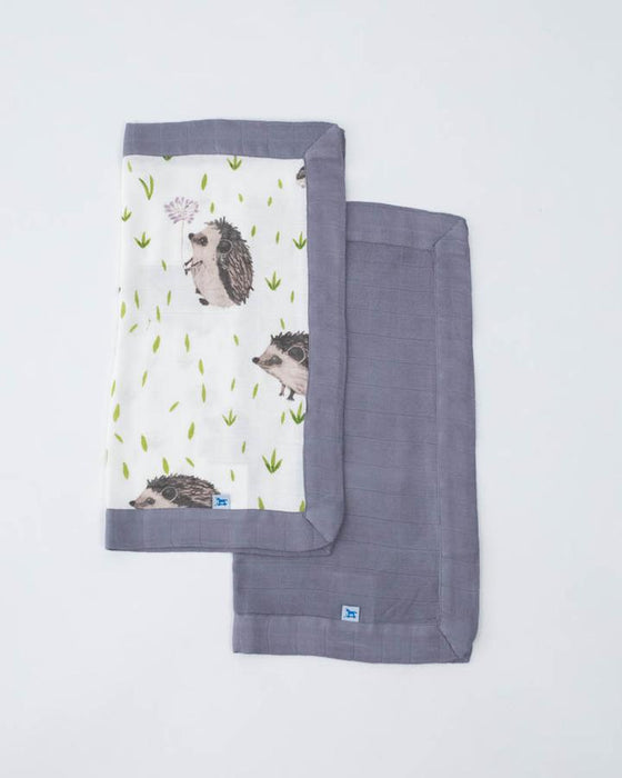 DELUXE MUSLIN SECURITY BLANKETS - HEDGEHOG + CHARCOAL - Made by McNamara