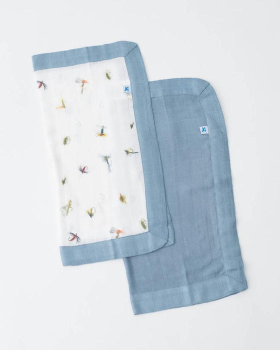 DELUXE MUSLIN SECURITY BLANKETS - GONE FISHING + SPRUCE