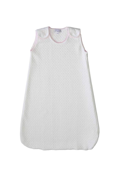PIMA BASKET WEAVE SLEEP SACK - PINK PICOT TRIM - Made by McNamara