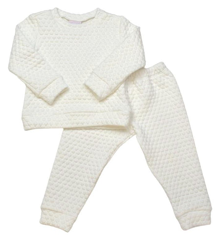 ALL DAY PLAY - WHITE QUILTED SWEATSUIT - Made by McNamara