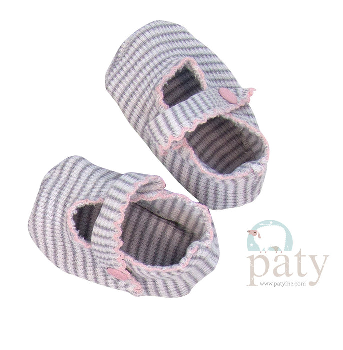 KNIT CRIB SHOES - GREY WITH PINK TRIM - Made by McNamara