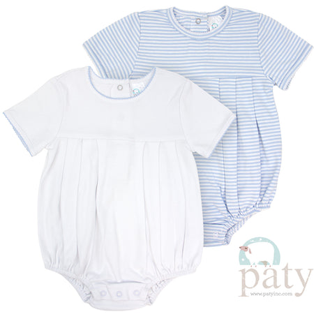 BOYS BLUE STRIPE BUBBLE WITH PICOT TRIM - Made by McNamara