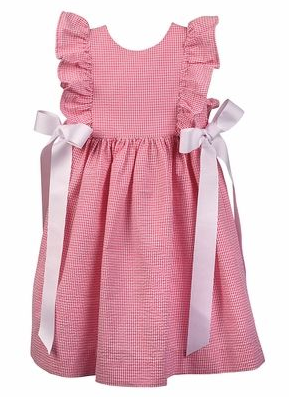 PINAFORE DRESS - PINK SEERSUCKER - Made by McNamara