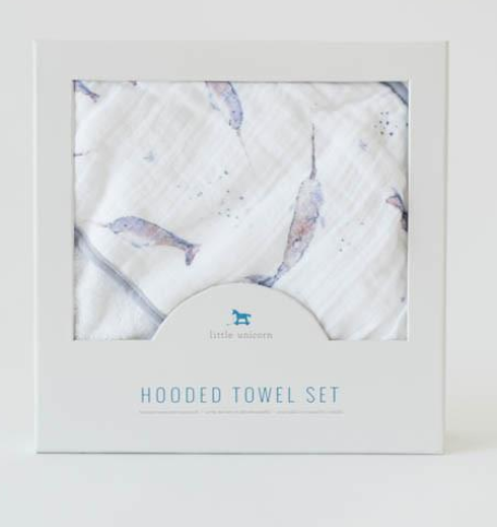 HOODED TOWEL AND WASHCLOTH SET - NARWHAL
