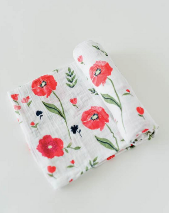 COTTON MUSLIN SWADDLE - SUMMER POPPY - Made by McNamara