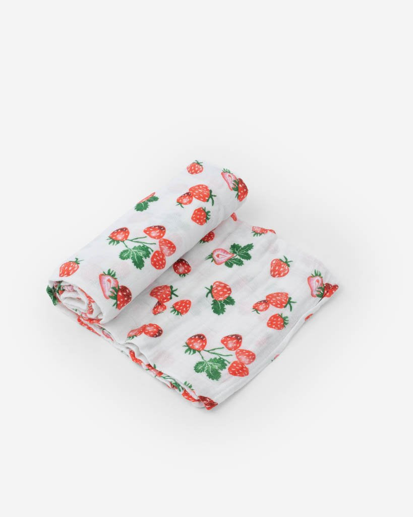 COTTON MUSLIN SWADDLE - STRAWBERRY - Made by McNamara