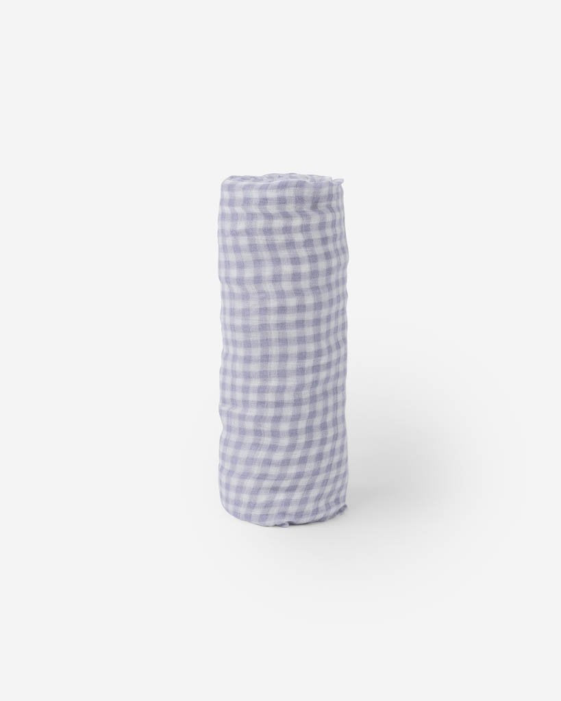 DELUXE MUSLIN SWADDLE - LAVENDER GINGHAM - Made by McNamara