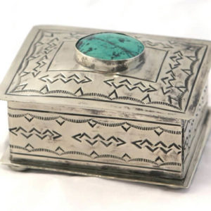 SMALL STAMPED BOX WITH TURQUOISE - Made by McNamara